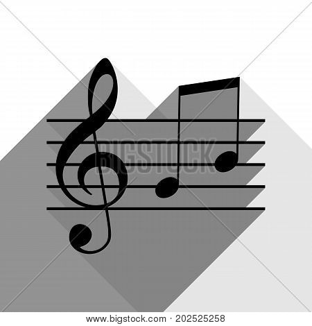 Music clef sign. G-clef and notes G, H. Vector. Black icon with two flat gray shadows on white background.