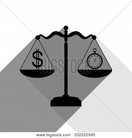 Stopwatch and dollar symbol on scales. Vector. Black icon with two flat gray shadows on white background.