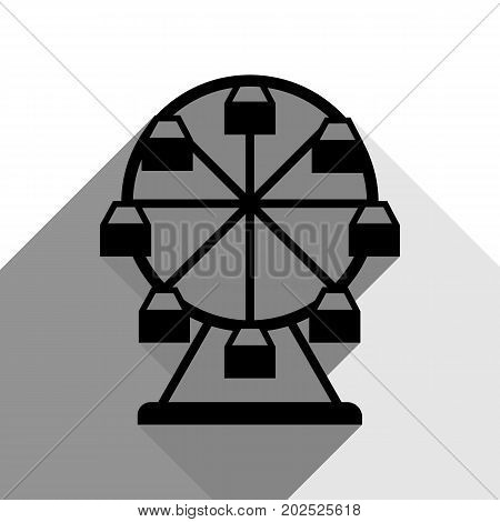 Ferris wheel sign. Vector. Black icon with two flat gray shadows on white background.
