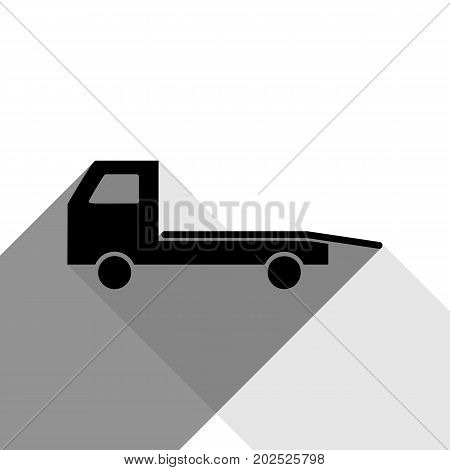 Service of evacuation sign. Wrecking car side. Car evacuator. Vehicle towing. Vector. Black icon with two flat gray shadows on white background.