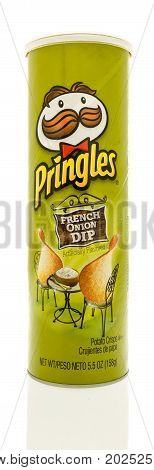 Winneconne WI - 1 September 2017: A tube of Pringles in French Onion dip flavor on an isolated background.