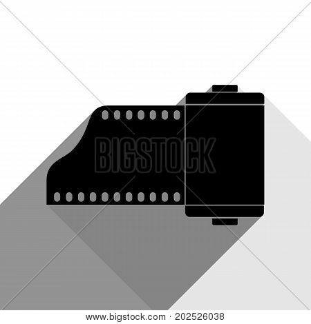 Old photo camera casset sign. Vector. Black icon with two flat gray shadows on white background.