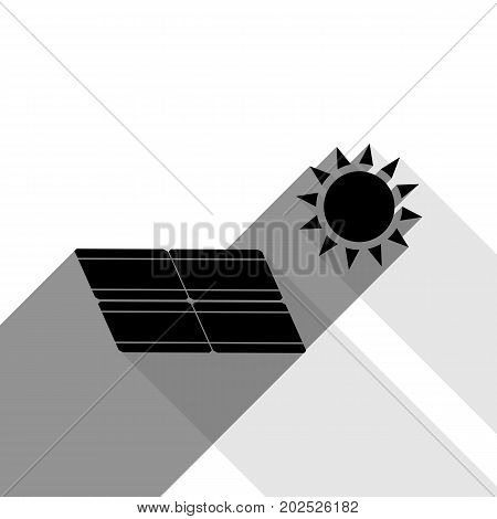 Solar energy panel. Eco trend concept sign. Vector. Black icon with two flat gray shadows on white background.