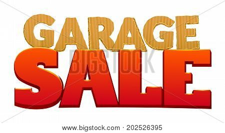 Garage Sale, inscription from cardboard letters for advertising design, vector illustration isolated from white background
