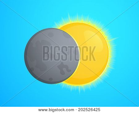 Total solar eclipse, Moon and Sun vector illustration