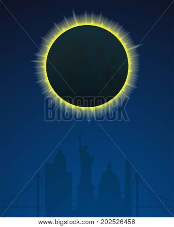 Total solar eclipse in USA, vertical banners, vector illustration