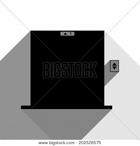 Elevators door sign. Vector. Black icon with two flat gray shadows on white background.
