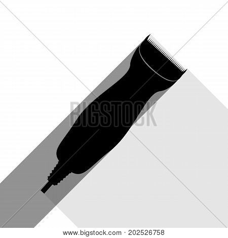 Clipper sign illustration. Vector. Black icon with two flat gray shadows on white background.
