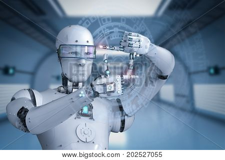 3d rendering humanoid robot measure with finger