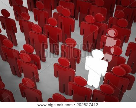 3d rendering glowing man among crowd with differentiate concept