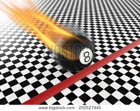 3d rendering fast moving eight ball to finish line