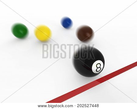 winner concept with 3d rendering eighth ball moving to finish line