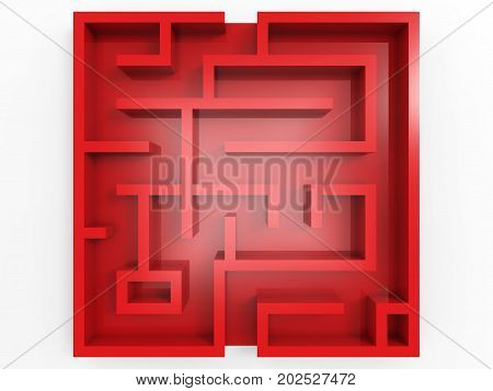 3d rendering red labyrinth on white background top view