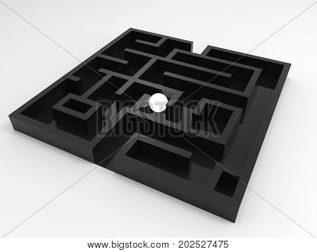 challenge concept with 3d rendering shining ball in maze