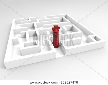 challenge concept with 3d rendering chess king in maze