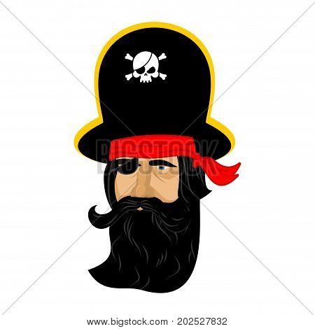 Pirate portrait in hat. Eye patch and smoking pipe. filibuster cap. Bones and Skull. Head corsair black beard.