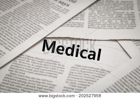 medical headline or header on newspaper background