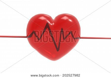 3d rendering red heart shape with pulse line on white background