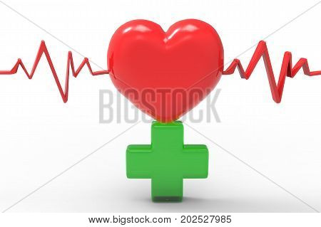 3d rendering red heart shape and pulse with green cross