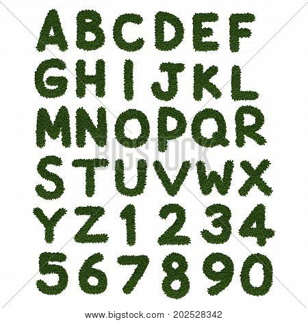 greenery alphabet a to z on white background illustration