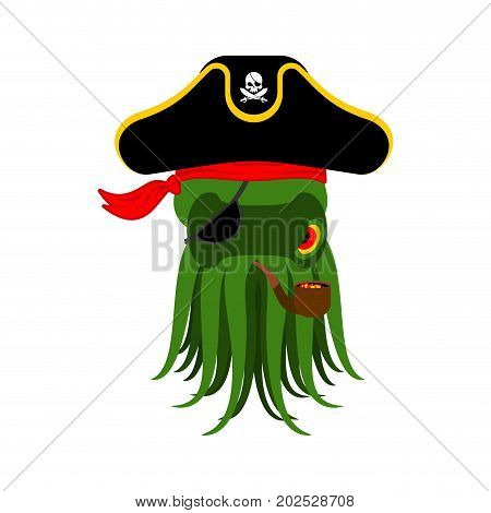 Octopus Pirate. Poulpe Buccaneer. Eye Patch And Smoking Pipe. Pirates Cap. Bones And Skull. See Anim