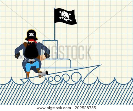 Pirate On Ship. Painted Ship And Buccaneer. Scary Filibuster With Hook. Notebook