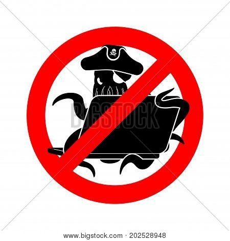 Stop Web Pirate Octopus And Laptop. Ban Sign Poulpe Internet Hacker And Pc. Prohibiting Devilfish Bu