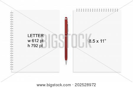 Spiral binding notebook or notepad and pen isolated. Sketchbook or diary ISO 216 A4 standart. Realistic  illustration