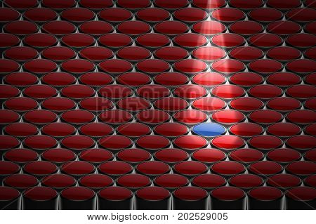 creativity concept with 3d rendering blue bucket in all red buckets