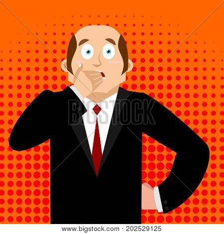 Omg Boss Facepalm Pop Art . Oh My God Businessman Is Frustrated. Disappointment Manager. Illustratio