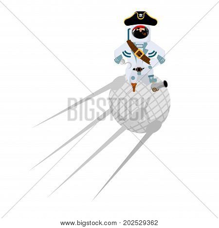 Space Pirate On Satellite. Filibuster Spaceman. Buccaneer Cosmonaut In Protective Suit. Rover Astron