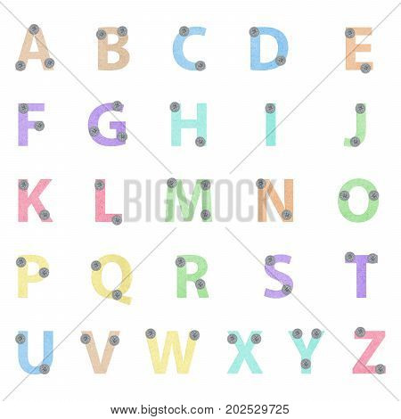 colorful alphabet a to z on white background