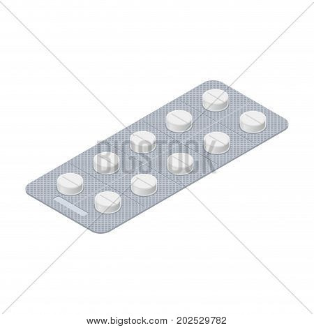 Tablets Blister Isolated. Medical Pill. Medicine Tablet