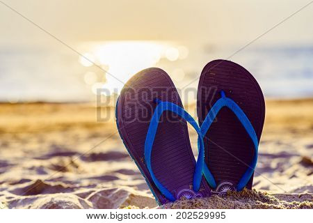 blue sandals in the sand on the beach in the summer