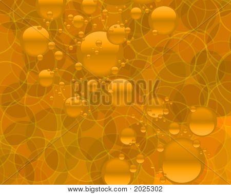Gold Bubbles Orange Circles Background