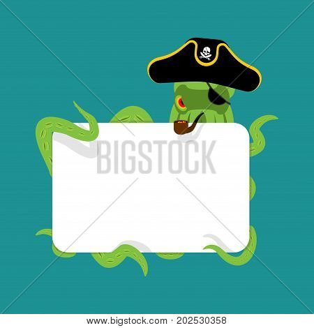 Octopus Pirate And Blank Sign. Poulpe Buccaneer. Eye Patch And Smoking Pipe. Pirates Cap. Bones And