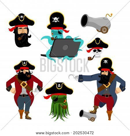 Pirate Set Characters. Web Pirate Octopus. Buccaneer With Cannon. Skull And Filibuster Hat