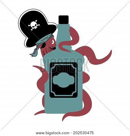 Octopus Pirate And Bottle Of Rum. Poulpe Buccaneer And Brandy. Eye Patch And Smoking Pipe. Pirates C