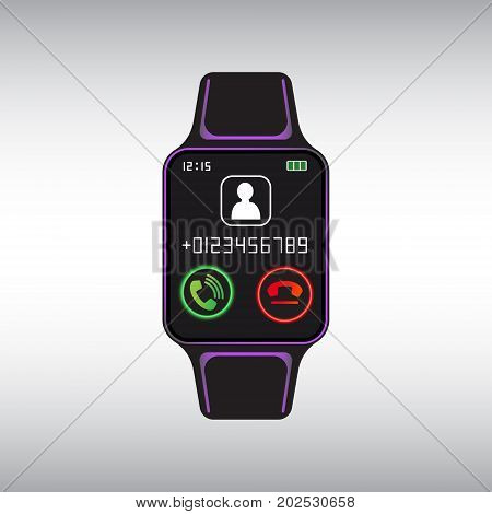 Black smart watch with incoming call pictogram. Isolated smart watch sign. Smart watch flat vector icon.