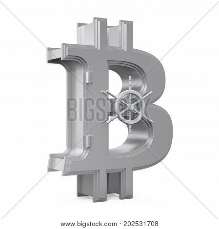 Bitcoin Symbol Vault isolated on white background. 3D render