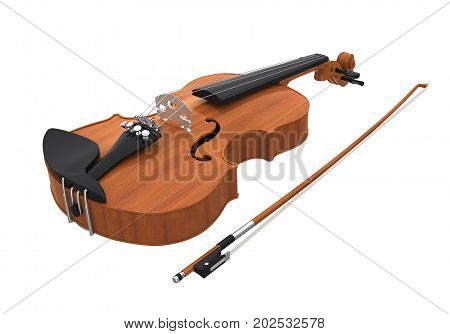 Aged Violin with Bow isolated on white background. 3D render