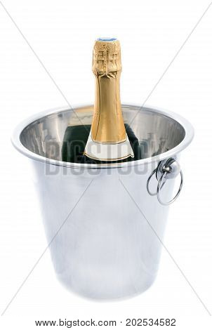 metal ice bucket in front of white background
