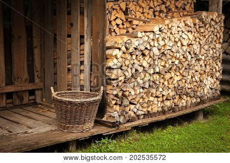 Closeup of a stack of burnng wood with an old basket