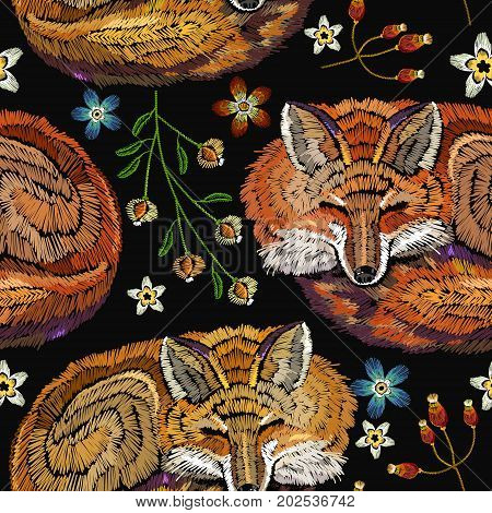 Embroidery sleeping fox and flowers seamless pattern. Classical embroidery seamless background. Red fox sleeping in flowers. Fashionable template for design of clothes