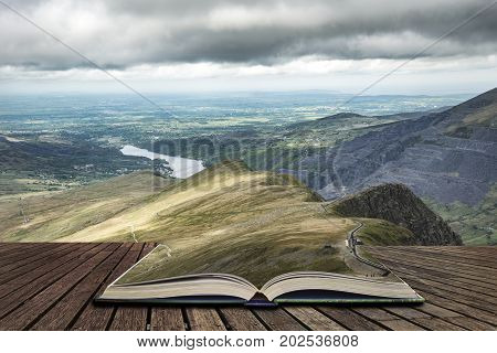 Landscape Of Snowdonia From Halfway Up Mount Snowdon Concept Coming Out Of Pages In Book