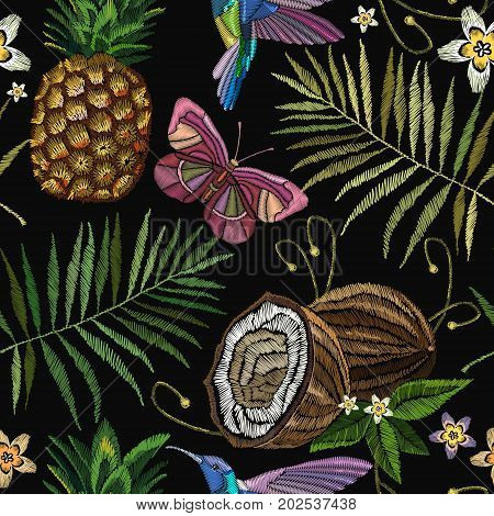 Embroidery humming bird palm tree leaves pineapple butterflly coconut tropical seamless pattern. Fashionable embroidery tropical butterfly summer background. Template for design of clothes