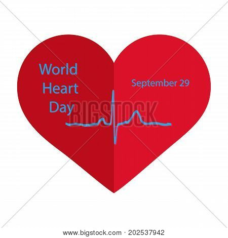 World Heart Day. 29 September. Flat style. Cardiogram. Vector illustration on isolated background