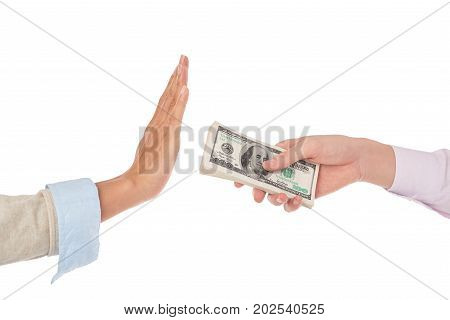 Hand of business woman refusing taking money
