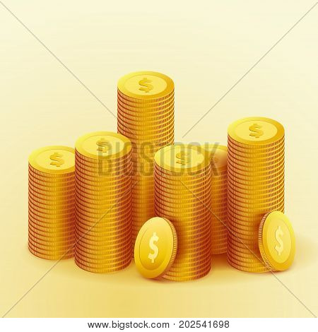 Realistic golden coins money fortune. Casino cash wage. Success isolated pile over light gradient background. Vector illustration