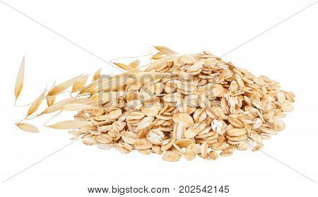 heap of oatmeal and ripe oat ears isolated on white background with clipping path poster